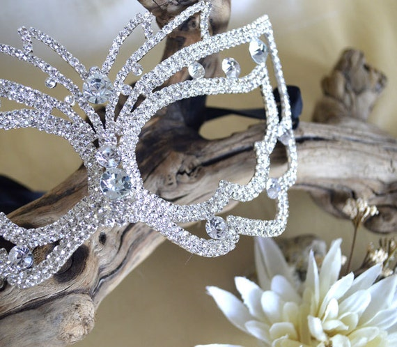 Rhinestone Masquerade Mask - Party Rhinestone Mask