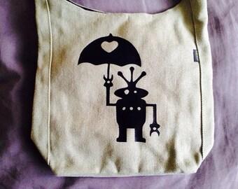 Vegan Medium Hemp Tote: Alien Robot Umbrella