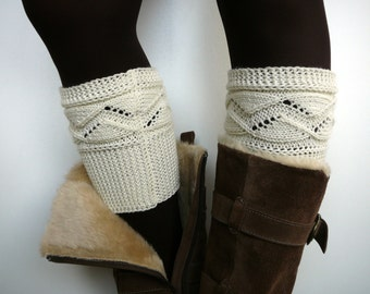 Cream knit boot socks, boot cuffs, boot toppers, leg warmers