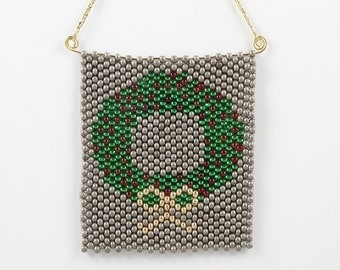 Peyote Stitch Wreath Ornament