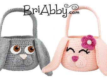 Crochet Easter Bunny Basket Pattern (PDF FILE) for boys and girls