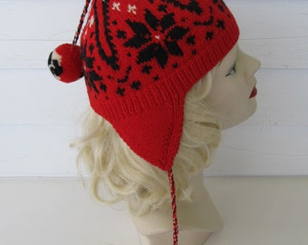 80's Boho L'ALPINA Wool Ear Flap Hat Hand Made Maglierie Sportive Milano Italy