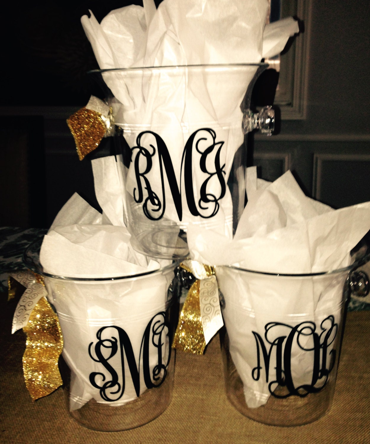 personalized acrylic champagne bucket  great for engagement