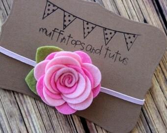 felt flower headband  - newborn through adult - pink