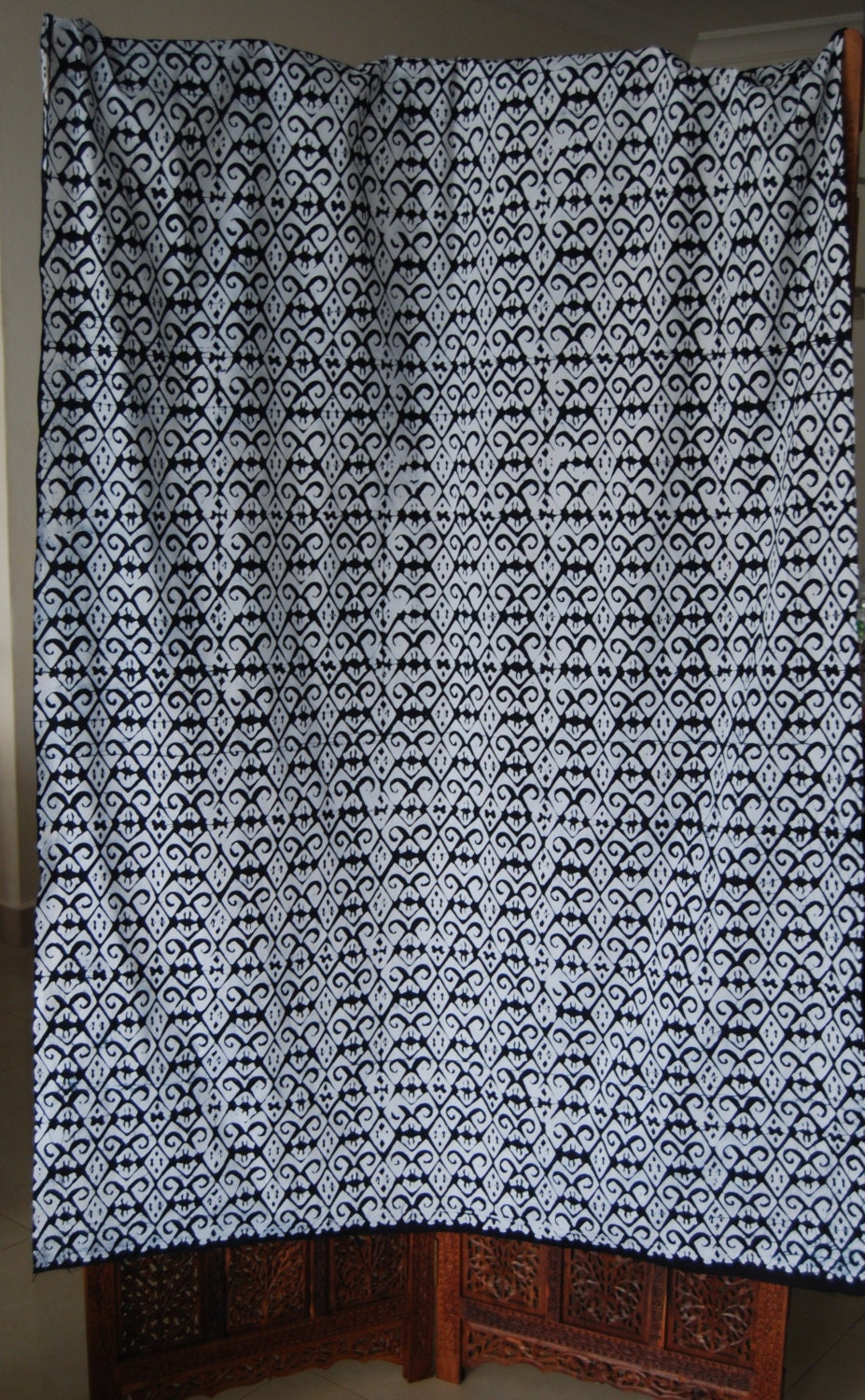 malaysian black and white batik fabric hand printed from