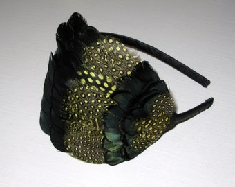 Yellow, Dark Green and Black FEATHER HEADBAND Spotted Feathers Fascinator 'Athena'