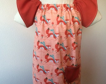 Orange Fox Peasent dress- ready to ship- size 3T