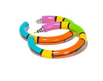 90s Neon Hoops / Color Blocked Earrings