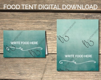 DIGITAL Wispy Ombre Teal Brunch With The Bride Food Tents  |  Instant Download