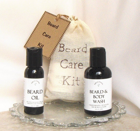 gifts for him beard care kit beard oil beard by flahertynaturals. Black Bedroom Furniture Sets. Home Design Ideas