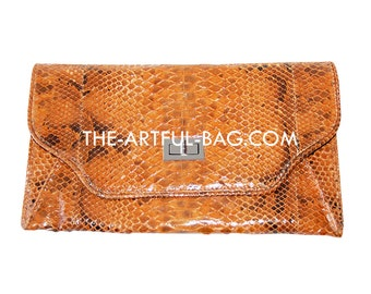 Laila Brown 100% Real Snakeskin Clutch Bag From The-Artful-Bag.com