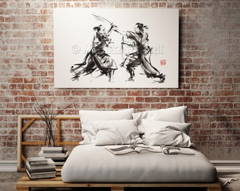 Samurai fight samurai with sword, samurai sword, samurai, samurai painting, drawing samurai, samurai print