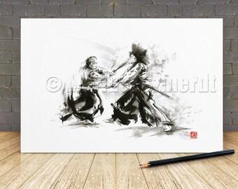 Samurai art print samurai art samurai helmet ronin samurai armor seven samurai avatar samurai japanese painting sumi-e asian wall decor