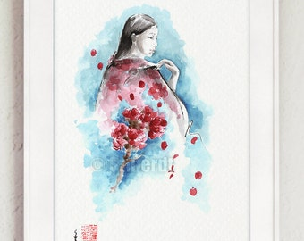 Spring Art Japanese Woman Painting Cherry Blossom Branch Mothers Day Gift
