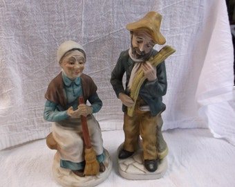 Vintage Old Man and Old Woman figurine
