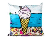 Ice Cream - coastal silk cushion