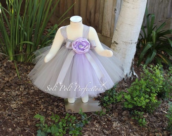 Silver Grey and Lavender Party Dress-Flower Girl Dress