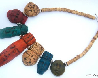 Artisan Statement Necklace Polymer Clay unique Tribal