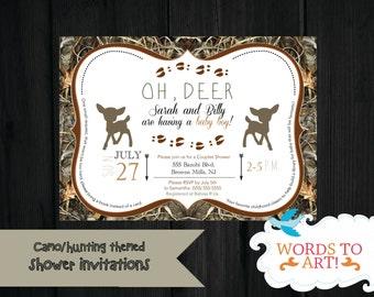 CUSTOM Deer Camouflage Baby Shower Invitations- Boy or Girl- Hunting Season