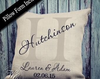 wedding gift, monogram pillow, burlap pillow, personalized pillow, personalized wedding gift, monogrammed pillow, wedding gift
