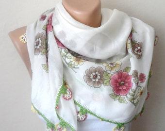 cream scarf  pink  flower green brown rose color yellow cotton turkish yemeni oya handmade