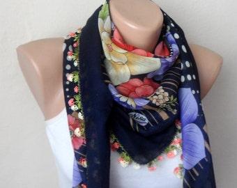 blue scarf purple  flower green pink yellow cotton turkish yemeni oya handmade
