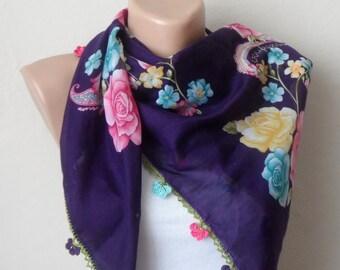 purple scarf pink  flower green yellow cotton turkish yemeni oya handmade