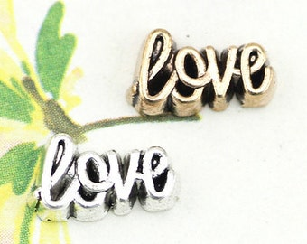 Gold or Silver Love Script Locket Charm for Glass Floating Charm Magnetic Living Memory Lockets & Necklaces