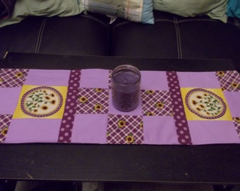 Table runner patchwork  approx 12 x 36 Sunflower purple and Lilac reversible.