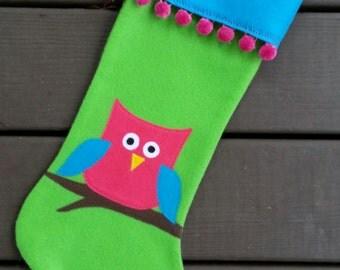 Personalized Handmade Felt Christmas Stocking-Owl
