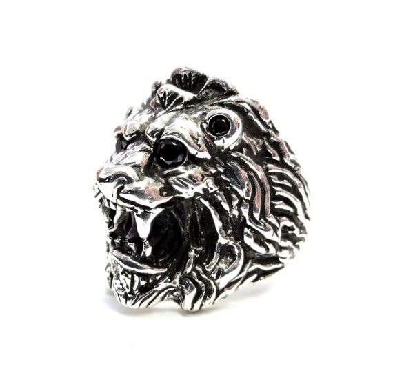 men 39 s king lion heavy silver ring with black diamonds