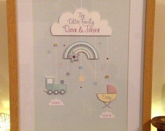 Family Tree Framed Personalised 3d print in A4 Oak Frame