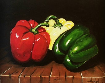Kitchen wall art, wall decor, bright bell peppers vegetable painting red, green, yellow by Pamela Henry realism hyperrealistic