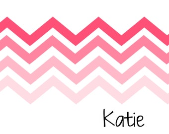 Personalized Ombre Chevron Stripe Folded Note Cards (Set of 10 cards w/ envelopes) (size A2)