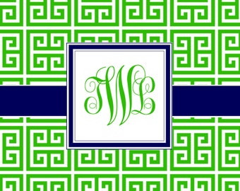 Personalized Greek Key Design with Monogram - Folded Note Cards (A2)