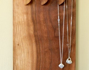 Wall mounted necklace holder and display made from solid walnut wood Made in Canada #7