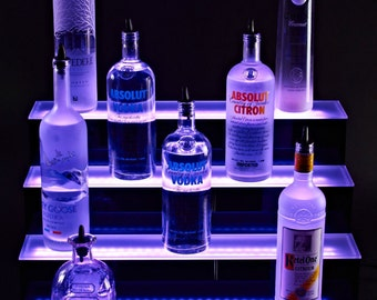 "4 Tier 60"" LED Lighted Bottle Shelf , 4 Step Liquor Display Shelves, Bar Shelf"