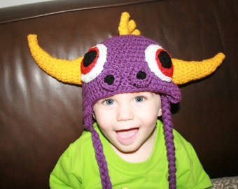 Skylander Spyro 'Inspired' Dragon Character Crochet Earflap Hat.Cartoon.Purple Creature. All sizes available. Makes a great gift for anyone.