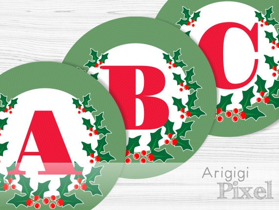 Printable Banner Letters A-Z Numbers 0-1 - Holly Berries - green circles red alphabet
