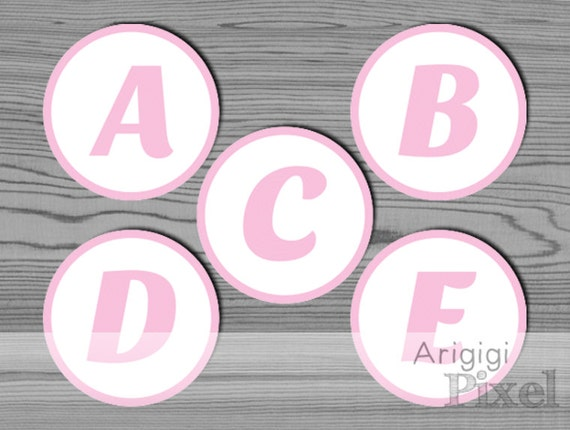 Pink Capital Letters And Numbers In Circle For DIY Personalized