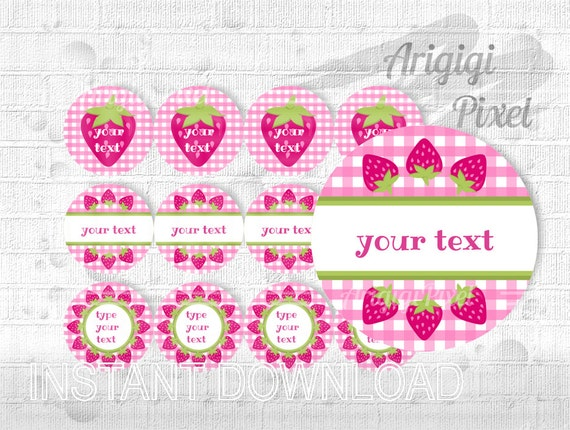Pink Gingham Strawberry round label -  2.5 in circle - editable PDF