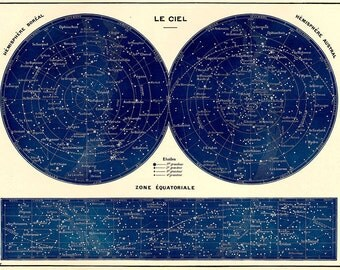 Large French Northern Southern Constellations Star Chart Print in deep darkl blue black SIX SIZE OPTIONS
