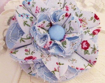 Blue / White Fabric & Lace Flower Sash Hair Accessory Brooch Headband Baby Girl Home Decor Blog Giveaway Toddler Baby Shower Newborn Gift