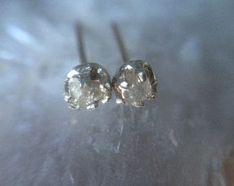 Raw Diamond Earrings- Silver Conflict Free Diamond Earrings - Rough Diamond Earrings Studs - Recycled Diamond Earrings