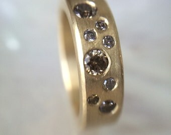 18k Champagne Diamonds Wedding Band- Gold Flush Set Champagne Diamond Band- Diamond Wedding Band