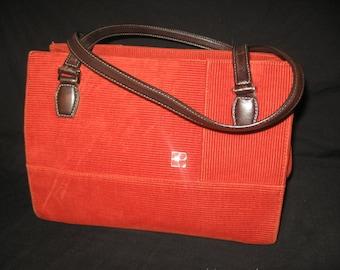 Kate Spade Vintage Red/Orange Corduory Handbag/ Retro Kate Spade Handbags/Red/Orange Cloth Handbags/Kate Spade handbags