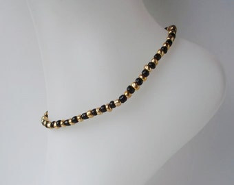Black & Gold Glass Beaded Stretch Anklet Ankle Bracelet