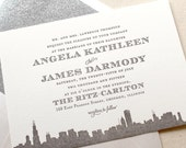The Empire Suite - Letterpress Wedding Invitation Sample- Grey and Silver, Art Deco, Roaring Twenties, Vintage, Skyline, City, Glitter, Gray