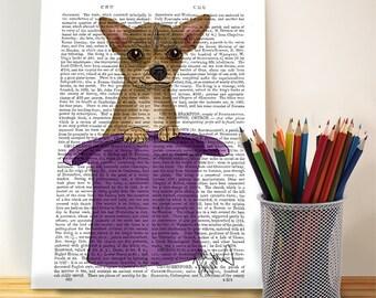 Chihuahua Gift in Top Hat - Art Print Dog Print wall art wall decor wall hanging chihuahua illustration chihuahua print Chiwawa