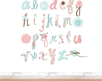 Alphabet Wall Decal - Playroom Wall Decal - Girls Room Wall Decal - Play Room Wall Decal - Toy Room Wall Decal - Girl Decal - 01-0011